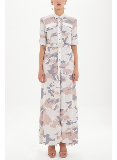 Societa Desenli Uzun Elbise 92464 Renkli